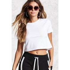 Forever21 Cropped Tee featuring polyvore, women's fashion, clothing, tops, t-shirts, white, crop t shirt, short sleeve tee, forever 21 t shirts, crew neck t shirt and crew t shirts
