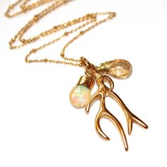Gold Antler Necklace  Nature Inspired Jewelry  Opal by FizzCandy