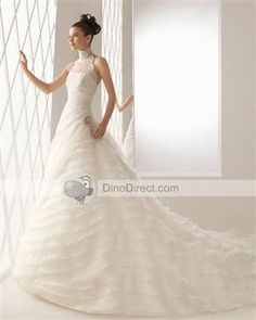 OuSang High Neck Lace Beading Chapel A-Line Bridal Gown Wedding Dress - DinoDirect.com