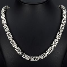 Fashion Gift  8mm/18-36INCH  Heavy Mens Byzantine Box Necklace Silver(color) Stainless Steel Chain Wholesale Jewelry DLKN122