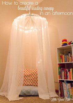 Looking for great children's decor, but don't want to spend a fortune? Decorating your child's room or play area can be fun, easy, beautiful and inexpensive. This reading canopy came together in an afternoon for less than $30 with items from a discount store and fabric shop.