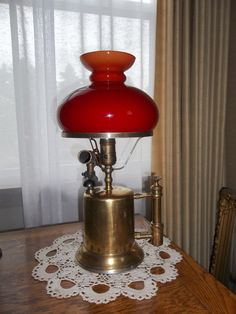 Vintage Industrial Plumbers Blow Torch Lamp with Red Cased Glass Shade by andreasantiques - $85
