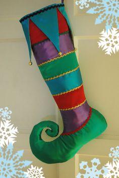 Handmade Christmas Stocking /Stripes / Curly Toe