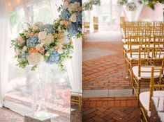 Wedding Flowers: Soft Blue Hues with Pops of Peach at Decatur House in…
