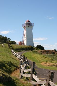 Lady Bay Lower Lighthouse, Warrnambool, Victoria - square tower built in 1854 on Flagstaff Hill