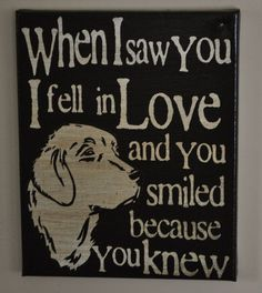 Saw you I fell In Love - Golden Retriever -Unique Canvas Art, wall decor, wall art, Custom Dog  Breed, Pet  Art