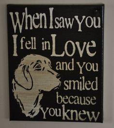 Saw you I fell In Love - Golden Retriever -Unique Canvas Art, wall decor, wall art, Custom Dog  Breed, Pet  Art