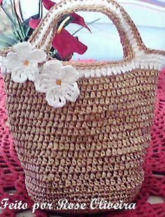 Tecendo Artes em Crochet: Bolsa de Mão em Ráfia