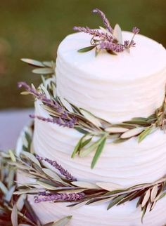 olive branch lavender and a white cake