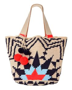 Sophie Anderson Jonas Abstract Cotton Tote: A hand-woven crochet-cotton artisanal tote bag with signature pom details. Two 21cm handles. Open top. Depth 35cm x Height 35cm x Width 55cm. ...