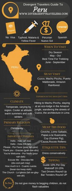 Divergent Travelers Travel Guide, With Tips And Hints To Peru . This is your ultimate travel cheat sheet to Peru. Click to see our full Peru Travel Guide from the Divergent Travelers Adventure Travel Blog and also read about all of the different adventures you can have in Peru at http://www.divergenttravelers.com/destinations/peru-2/
