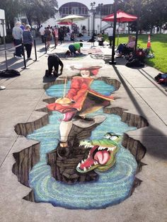 chalk art Downtown Disney - I love it when thy do this. Disney Fanatic, Disney Nerd, Disney Love, Disney Disney, 3d Street Art, Amazing Street Art, Amazing Art, Awesome, Downtown Disney