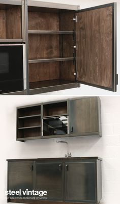 Discover the Workshop Kitchen Range by Steel Vintage. Vintage Kitchen Cabinets, Steel Kitchen Cabinets, Kitchen Units, Industrial Interiors, Industrial Style, Metal Furniture, Furniture Design, Solid Doors, Open Face