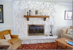 Painted lava rock fireplace . | Living Room Ideas | Pinterest