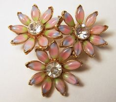 Vintage Tricolor Rhinestone Flower Pin Pink by GretelsTreasures