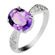 2.5 Carat Amethyst Gemstone Engagement Ring on Silver