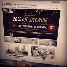 A special #CyberMonday treat... We're 20% + free shipping for today only over on DwellStudio.com!