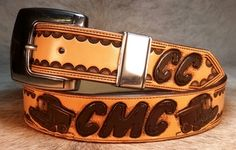 Custom tooled belt with initials and combines by 33 Ranch & Saddlery Leather Tool Belt, Leather Tooling, Custom Belts, Ranch, Initials, Carving, Gallery, Handmade, Accessories