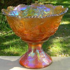Fenton Marigold Carnival Glass Wreath of Roses Punch Bowl with Stand with Vintage Interior http://www.rubylane.com/item/494613-carn62-bg3385/Fenton-Marigold-Carnival-Glass-Wreath#.T26eDUCH06g.twitter via @rubylanecom