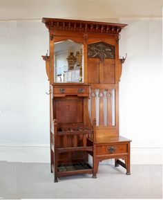 Arts and Crafts hallstand by Shapland and Petter c1900 in oak with copper panel in Antiques, Periods/Styles, Arts & Crafts Movement | eBay