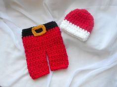 2pc santa pant and hat set. newborn by DesignsbyKieshia on Etsy, $18.00