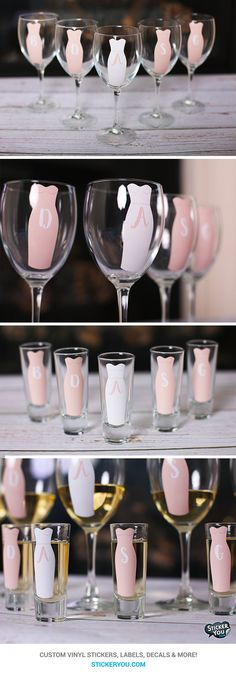 Custom vinyl stickers for wine and shot glasses. Make personalized and unique glasses for bachelorette parties with StickerYou.