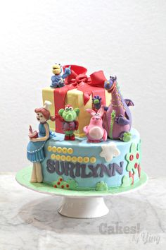 Dibo and Friends cake for a little girl who just turned one! Dibo the gift dragon is sure to bring a cake – this one is a passionfruit sponge ; 3rd Birthday Parties, Birthday Cakes, Friends Cake, Tiered Cakes, Tuna, Cake Toppers, Party Themes, Birthdays, Desserts