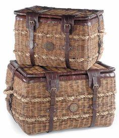 Rattan Trunk Basket w Leather Straps