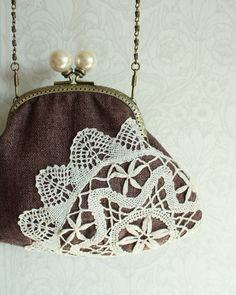 Gorgeous Lace Doilies, Crochet Doilies, Clutch, Tote Purse, Embellished Purses, Ethnic Bag, Frame Purse, Vintage Purses, Bobbin Lace