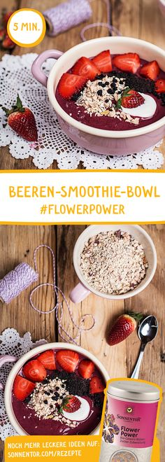 Zutaten: Beeren, Banane, Joghurt, Basen Müsli, Milch, Sonnige Grüße Honig, Flower Power Gewürz, Erdbeeren, Chia Samen, Heidelbeeren Dauer: 10 Min. Superfood, Smoothie Bowl, Smoothies, Flower Power, Camembert Cheese, Bowls, Honey, Yogurt, Milk