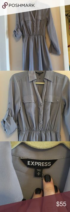 Womens Express Shirt Dress Silver/Gray Express Shirt Dress. 3 button closure on front. Convertible sleeves-(shown in picture 3) Elastic waist to give a slightly empire waist. Dress has only been worn once, no stains, but is missing black tie belt, although any black sash can be used. Express Dresses Long Sleeve