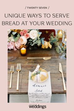 Bread makes for a great wedding appetizer as well as table decor. Your guests will appreciate the pre-dinner snack as well as the unique edible decoration appeal! Summer Wedding Guests, Wedding Reception Food, Wedding Dinner, Wedding Menu, Festive Bread, Wooden Wine Crates, Tulip Wedding, Party Themes, Theme Parties