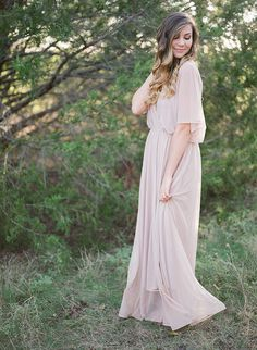 Fairy Chiffon dress Pink blush maxi dress Dress by BLUSHFASHION