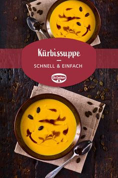 Kürbissuppe Pumpkin Soup: A simple and quick soup with Hokkaido pumpkin for cold autumn days Pumpkin Soup, Pumpkin Recipes, Mozarella, Cauliflower Soup Recipes, Quick And Easy Soup, Thanksgiving Drinks, Food Charts, Pumpkin Spice Cupcakes, Kitchens
