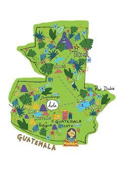 illustrated map of Guatemala by Steph Marshall Tikal, Belize, San Salvador, Honduras, Atitlan Guatemala, Guatemala City, Panama, Thinking Day, Adventure Is Out There