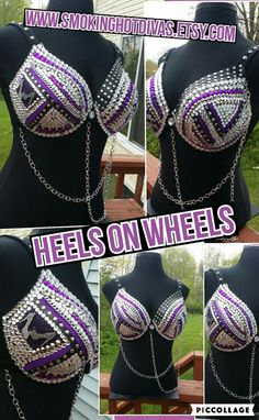 Rhinestone Bra Biker Heel N Wheels theme by Smokinghotdivas