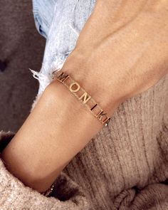 """MISS QUOTE na Instagramie: """"And what is your name? 🧐 shop our Letters Bracelet on www.miss-quote.com ❤️ now you can get 15% off! Code: CHRISTMAS15🎁 #jewelry…"""" Missing Quotes, What Is Your Name, Name Bracelet, Handmade Jewelry, Jewelry Design, Letters, Bracelets, Gold, Shopping"""