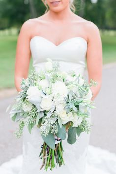 Lush wedding bouquet idea - greenery bouquet with white roses + peonies and succulents {Photo by The Lees Photography}