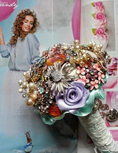 Ready to ship handmade vintage shaby chic Broochbouquet from designer Edyta Anderwald