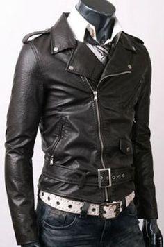 Men Belted Rider Fine Quality Slim Fit Mens Leather Jacket Black | eBay