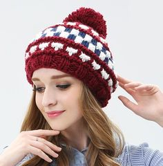 Plaid knit beret hat for women hairball beanie hat autumn wear