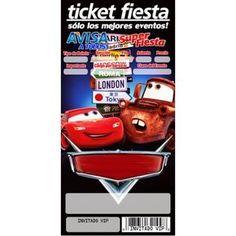 1 Paquete Invitaciones Tipo Ticket Cars. Tamaño 8x15 cm..Orden con 20 invitaciones. Impresión 1 solo lado. Lustrolito de 300 grms.