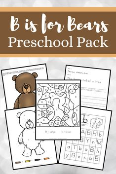 This pack is all about bears. Preschoolers will have fun working on beginning math and literacy skills with this brand new bears preschool learning pack. #bisforbear #bearpreschooltheme #letteroftheweek #homeschoolprek Bears Preschool, Preschool Learning, Preschool Activities, Hands On Activities, Educational Activities, Abc For Kids, Teaching The Alphabet, Letter Of The Week, Literacy Skills
