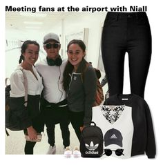 """Meeting fans at the airport with Niall"" by chocapiick ❤ liked on Polyvore featuring MANGO, Lipsy, adidas Originals, Converse, adidas, OneDirection, NiallHoran and onedirectionoutfits"