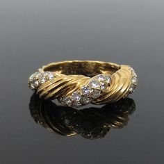 1960's Van Cleef & Arpels France 0.65ct Diamond 18K Yellow Gold Ring Size 6