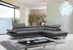 VGKNK8488-ECO-GRY-Divani Casa Quebec Modern Dark Grey Eco-Leather Sectional SofaThe sleek contemporary design of the Quebec Sectional is magnified by the geometrically designed metal legs and the tufted seats featuring a similar design. Five adjustable headrests and one armrest allows you to have control over your comfort while the right facing chaise provides ample seating. Upholstered in a white eco-leather where your body touches and leather match on the back, the Quebec will certainly…