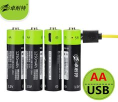 22.09$  Watch here - New technology! 4pcs ZNTER 1.5V AA 1250mAh li-polymer li-po rechargeable lithium li-ion battery with USB cable pack   #aliexpressideas