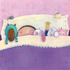 Francesca Assirelli Illustration - rancesca, assirelli, francesca assirelli, acrylic, acrylic paint, paint, painted, commercial, trade, picturebook, picture book, child, children, people, girl, girls, bed, bedroom, sleep, sleeping, dream, dreaming, toy, toys, doll, dolls