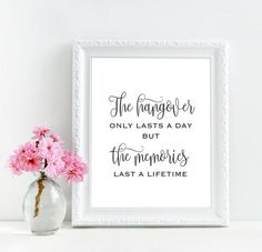 Wedding hangover kit table decoration (printable sign) by MyColorMoodWedding - The hangover only lasts a day but the memories last a lifetime