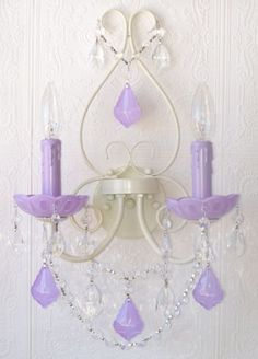 Double light Wall Sconce Lavender Crystals ships free!